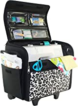 Everything Mary Cheetah Print Collapsible Rolling Sewing Machine Tote - Sewing Machine Case Fits Most Standard Brother & Singer Sewing Machines, Sewing Bag with Wheels & Handle