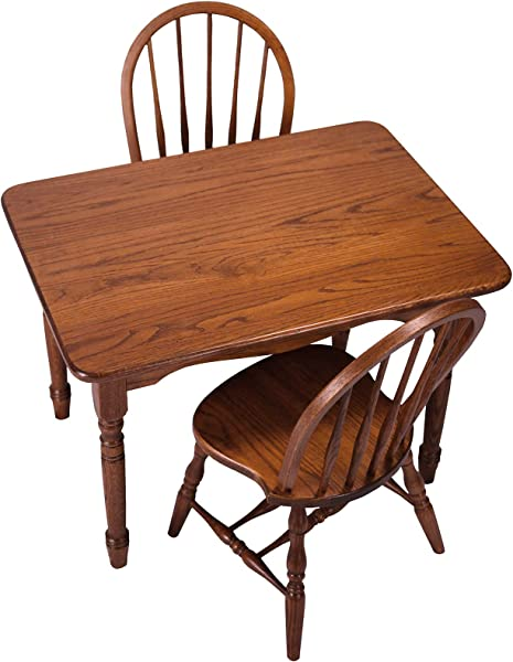 Peaceful Classics Amish Handcrafted Child S Solid Wood Table And 2 Chairs Set Harvest Finish Great For Playroom
