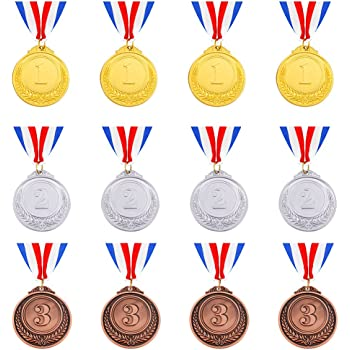 Caydo 12 Pieces Gold Silver Bronze Award Medals with Ribbon