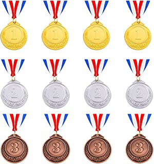 Caydo 12 PiecesGold Silver Bronze Award Medalswith Ribbon