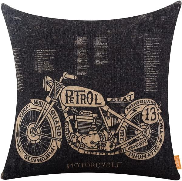 LINKWELL 18x18 Inches Black Motorcycle Design Draft Man Cave Home Sofa Burlap Throw Cushion Cover Pillowcase CC1208