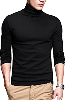 PAUSE Men's High Neck Full Sleeve Neck Black Cotton T-Shirt