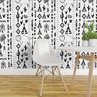 Spoonflower Peel and Stick Removable Wallpaper, Southwest Stripe Buffalo Teepee Feather Arrow Native American Indian Print, Self-Adhesive Wallpaper 24in x 36in Roll