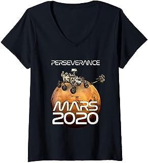 Femme Mission de la NASA Perseverance Rover Mars 2020 T-Shirt avec Col en V