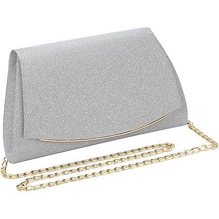 MEGAUK Damen Glitzer Clutch Unterarmtasche mit Abnehmbare Kette für Hochzeit Wedding Ball Bankett Prom Party, Silber