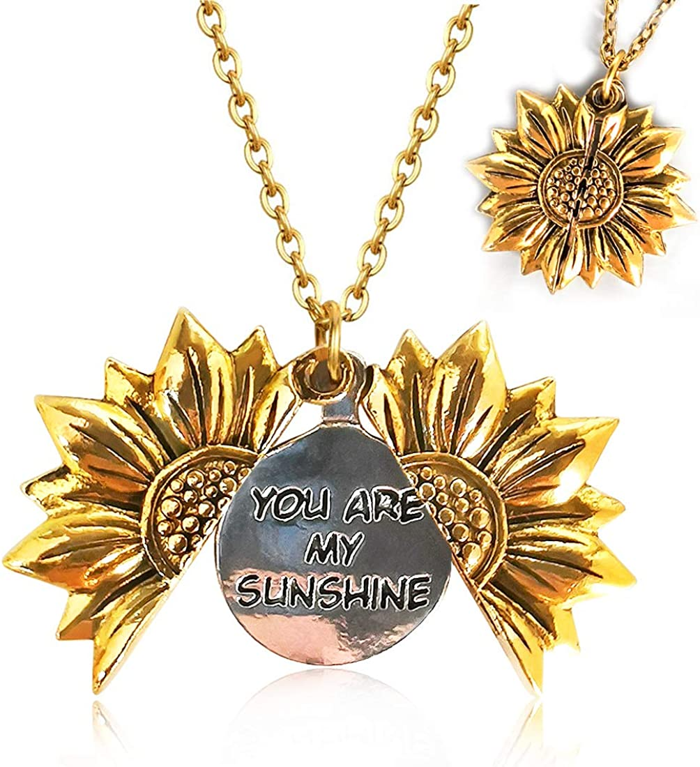 hatisan You are My Sunshine Locket Necklace, Inspirational Sunshine Sunflower Necklaces Sunflower Pendant for Mom Girlfriend Sister Wife Daughter - Adorable & Delicate