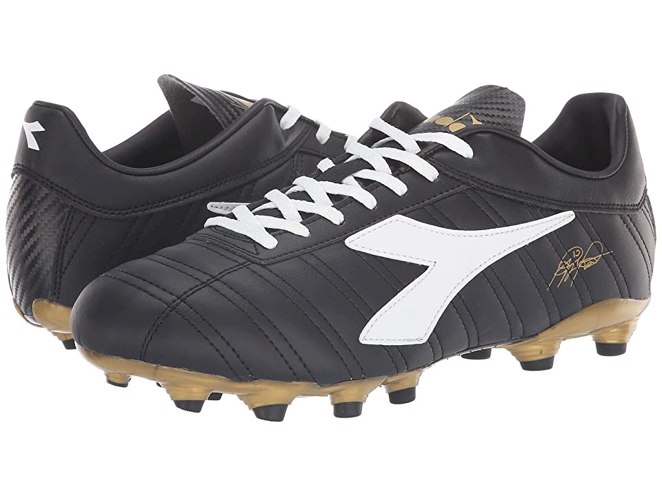 Diadora Baggio 03 R MG14 (Black/White/Gold) Soccer Shoes