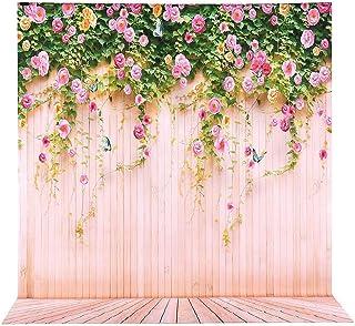 2 x 3 m Fondo para fotografía de tela profesional fondo fotográfico, BDDFOTO Fondo de madera con fondo de flores, paño ant...