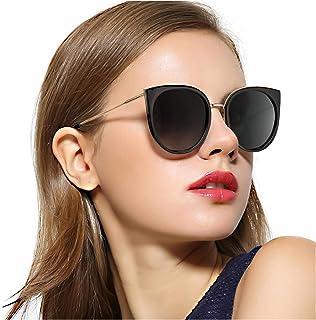 ce3819d38a RazLiubit Oversized Cat Eye Sunglasses for Women,Trendy Polarized Mirrored  Lens,Metal Temple UV400