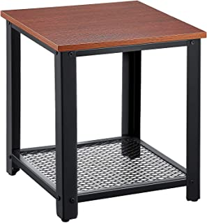 ORAF Side Table 2-Tier End Table Living Room Nightstand, Coffee Table with Storage Shelf for Home Office Living Room Bedroom (Dark Walnut)