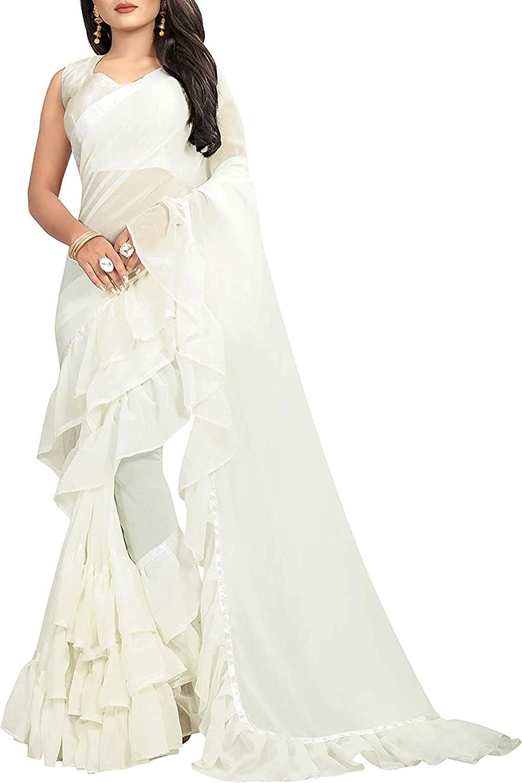 Saree Ruffle Georgette Ethnic Indian Frill Party Wear Desi Women 激安特価品 当店一番人気