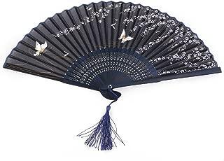 Hand Held Fans Folding Fan Bamboo Hand Fan Silk Fan with Tassel(Butterfly Sakura)