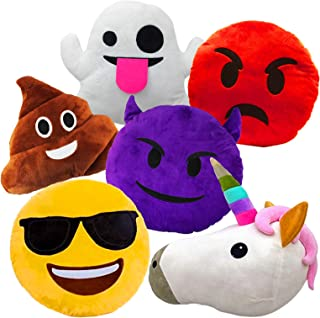 Liberty Imports Large Emoji Plush Pillows Bundle, 13 Inches (32 cm) Jumbo Stuffed Cushion Pillows Set with Poop, Devil, Unicorn, Ghost, Angry, Smiley (Set of 6)
