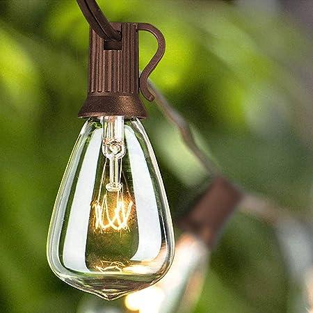 SUNSGNE Outdoor String Lights, 25Ft Edison Bulb String Lights with 27 Edison ST35 Bulbs, UL Listed for Indoor, Outdoor, Patio, Garden, Backyard, Porch, Bistro Decoration- Brown Wire