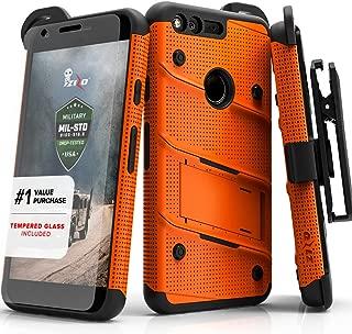 ZIZO Bolt Series Google Pixel XL w/ [Screen Protector] Kickstand [12 ft. Military Grade Drop Tested] Holster Clip (Orange/Black)