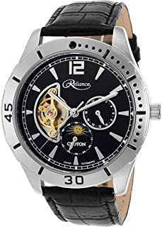 Reliance Automatic Black Leather Multi-Function Stainless Black/Silver Tone Watch RE306075SSBK