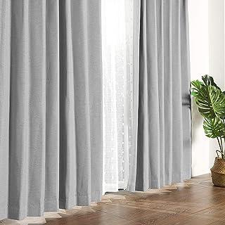 MYSKY HOME 遮光カーテン 2級遮光カーテン 2枚組 リネン ドレープカーテン 断熱防音省エネ 厚手 UVカット形状記憶加工 幅100cm (100x178cm, グレー) MHJ004P