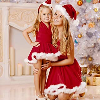 Kid-Mother Family Matching Christmas Sleeveless Evening Party Dress
