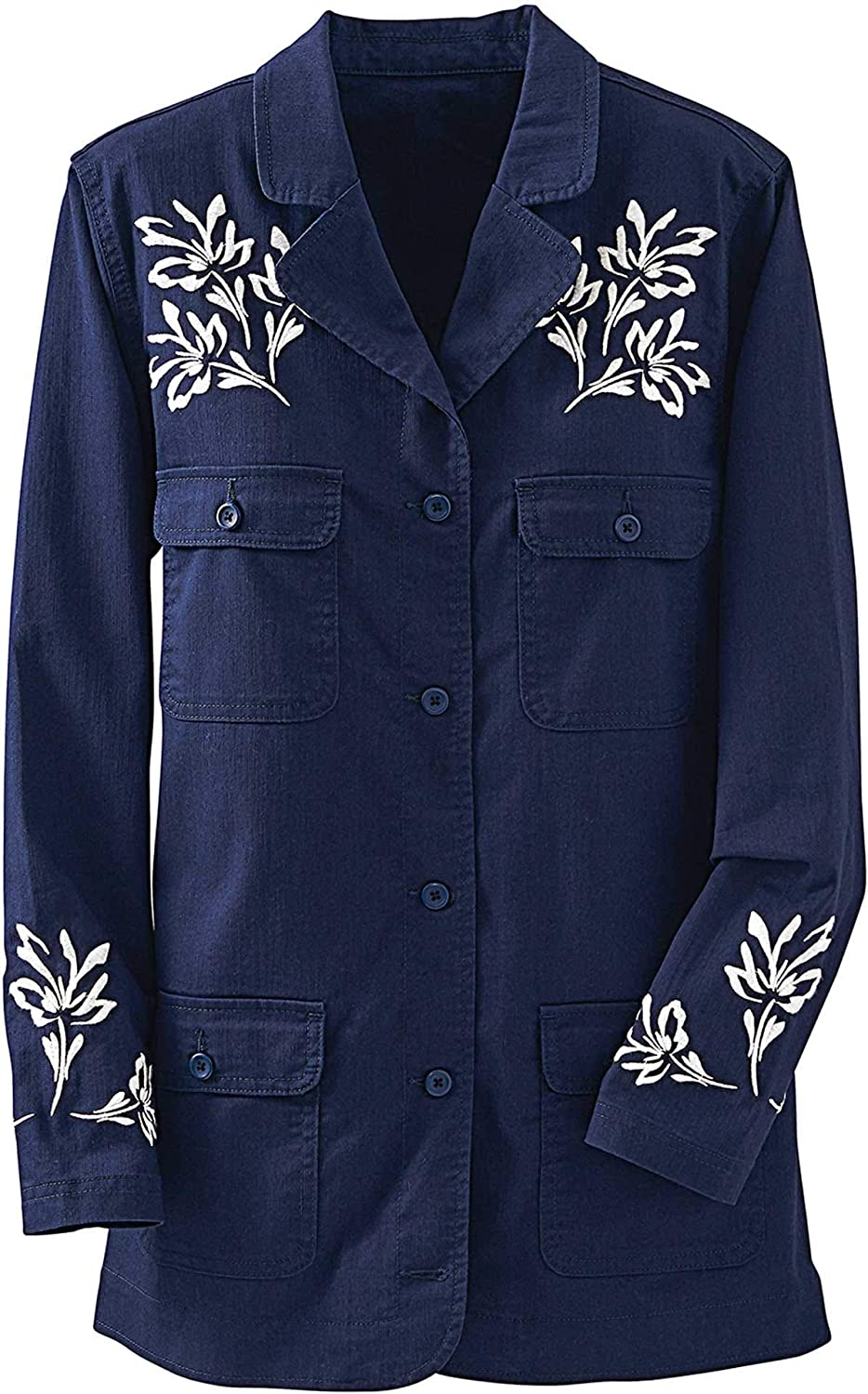 National Women's Floral-Embroidered Jacket - Comfy Stretch Denim - Patch Pockets, Long Sleeves, Rounded Hem Opening