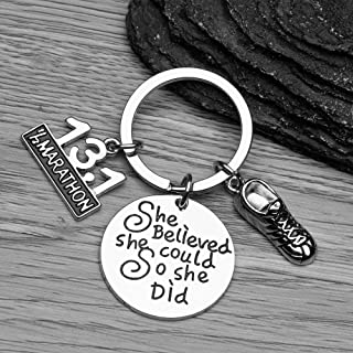 Sportybella 13.1 Keychain, Half Marathon Runner She Believed She Could So She Did Charm Keychain, Running Jewelry, 1/2 Marathon Gift for Girls and Women, for Runners