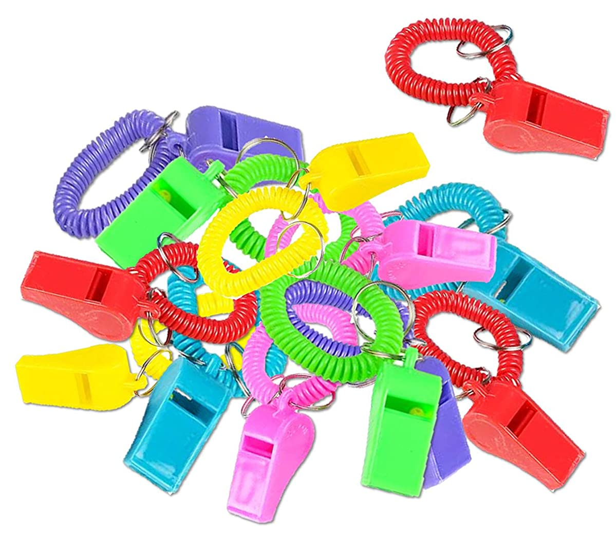 PlayO Whistle Spiral Bracelets with Keychain - Pack of 12 Colorful Party Whistle Bracelets
