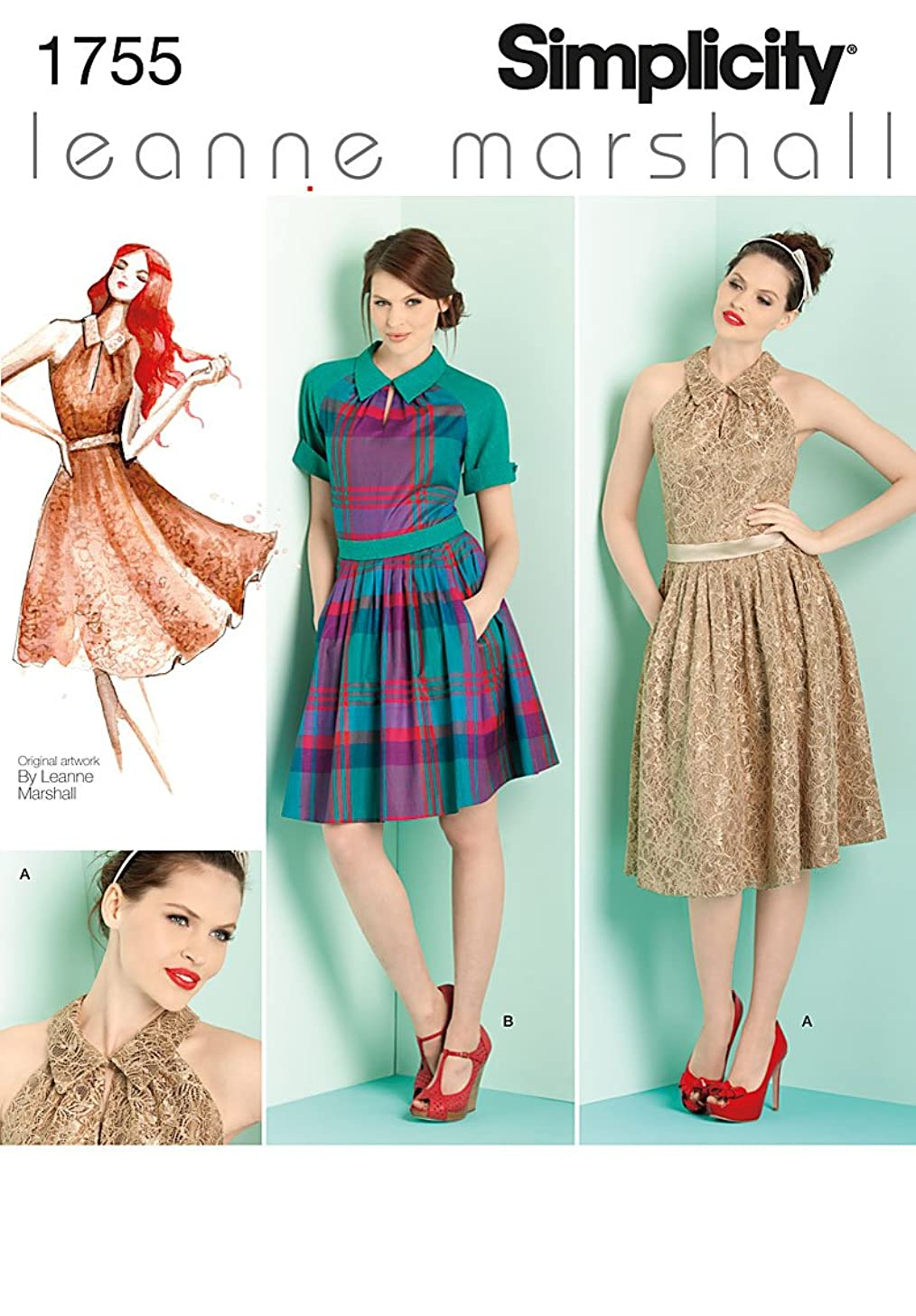 Simplicity Leanne Marshall Pattern 1755 Misses Dress in 2 Lengths and Tie Belt Sizes 12-14-16-18-20