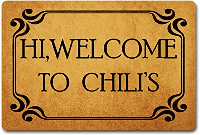 """Funny Entrance Door Mat Home Decor Indoor Welcome Mat 23.7""""(W) x 15.9""""(L) Hi Welcome to Chili's Doormat for Entrance Way Personalized Front Porch Mats No Slip Kitchen Rugs and Mats Prank Novelty Gift"""