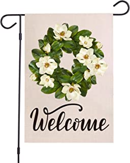 OuMuaMua Flower Wreath Welcome Garden Flag Vertical Double Sided Burlap Magnolia Wreath Yard Flags for Spring Summer Fall ...