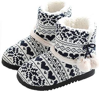 TQGOLD® Chausson Montant Femmes Hiver Pantoufles Intérieur Chaud Peluche Doublure Bottes Maison Slippers