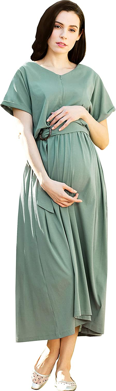 Sweet Mommy Maternity and Nursing Maxi Long-awaited Ranking TOP19 Three-Quarter Sleeve Dres