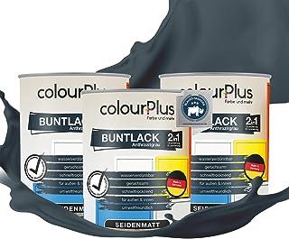 colourPlus 2in1 Buntlack 2,25L, RAL 7016 Anthrazitgrau seidenmatter Acryllack - Lack für Kinderspielzeug - Farbe für Holz - Holzfarbe Innen - Made in Germany