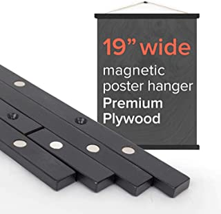 """Stiicks 19"""" Wide Magnetic Poster Frame Hanger in Black – Premium Plywood and Magnets Strong Enough to Hang Any Length"""