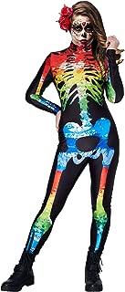 RAISEVERN Parent-Child Halloween Costume Kids Skeleton Bodysuit Cosplay Jumpsuit