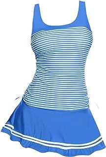 Women's Striped Tankini Set Two Piece Padded Swimsuits with Swim Skirt