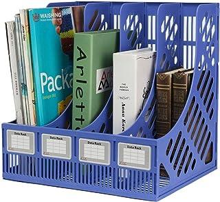 FAGVA Plastic File Holder Office Desk Table Top Book Shelf Organizer Magazine Paper Document Folder Tray Rack Storage 4 Ti...