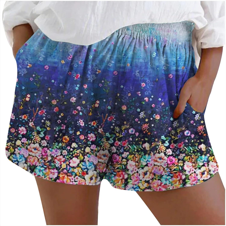 JiHua Shorts for Women Casual Summer Comfy Drawstring Elastic Waist Loose Print Activewear Short Pants with Pockets