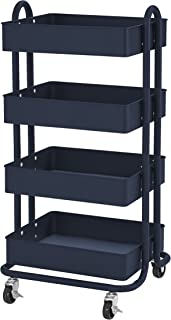 ECR4Kids 4-Tier Metal Rolling Utility Cart - Heavy Duty Mobile Storage Organizer, Navy
