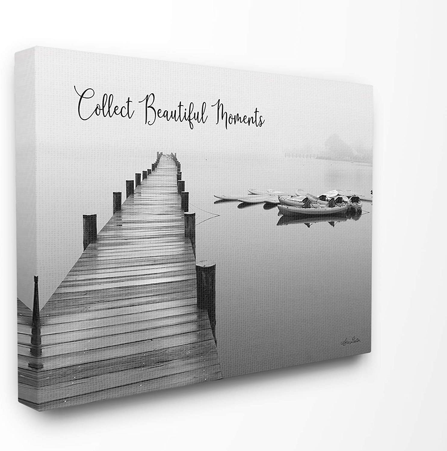 The Stupell Home Decor Black and White Calm Lake Photography Collect Beautiful Moments Stretched Canvas Wall Art 16x20 Multicolor