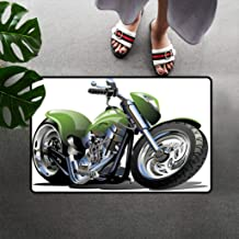 Motorcycle Low Profile Doormat Rug, Motorcycle Design with Fancy Supreme Gears and Tires Action Urban Life Print Floor Mat Chair Mat with Non Slip Back, 16