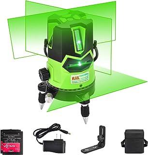 Nivel láser de haz verde de varias líneas: láser autonivelante automático 4 líneas verticales y 1 horizontal con punto de plomada hacia abajo, base giratoria de 360 °