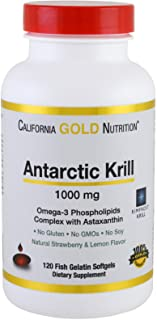 California Gold Nutrition Antarctic Krill Oil with Astaxanthin RIMFROST Natural Strawberry Lemon Flavor 1000 mg 120 Fish G...