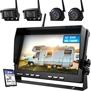 $519 » 10'' 1080P Wireless Backup Camera System for RV Truck Trailer Camper, 10 Inch DVR Quad Split Monitor IP69 Waterproof Wirel...