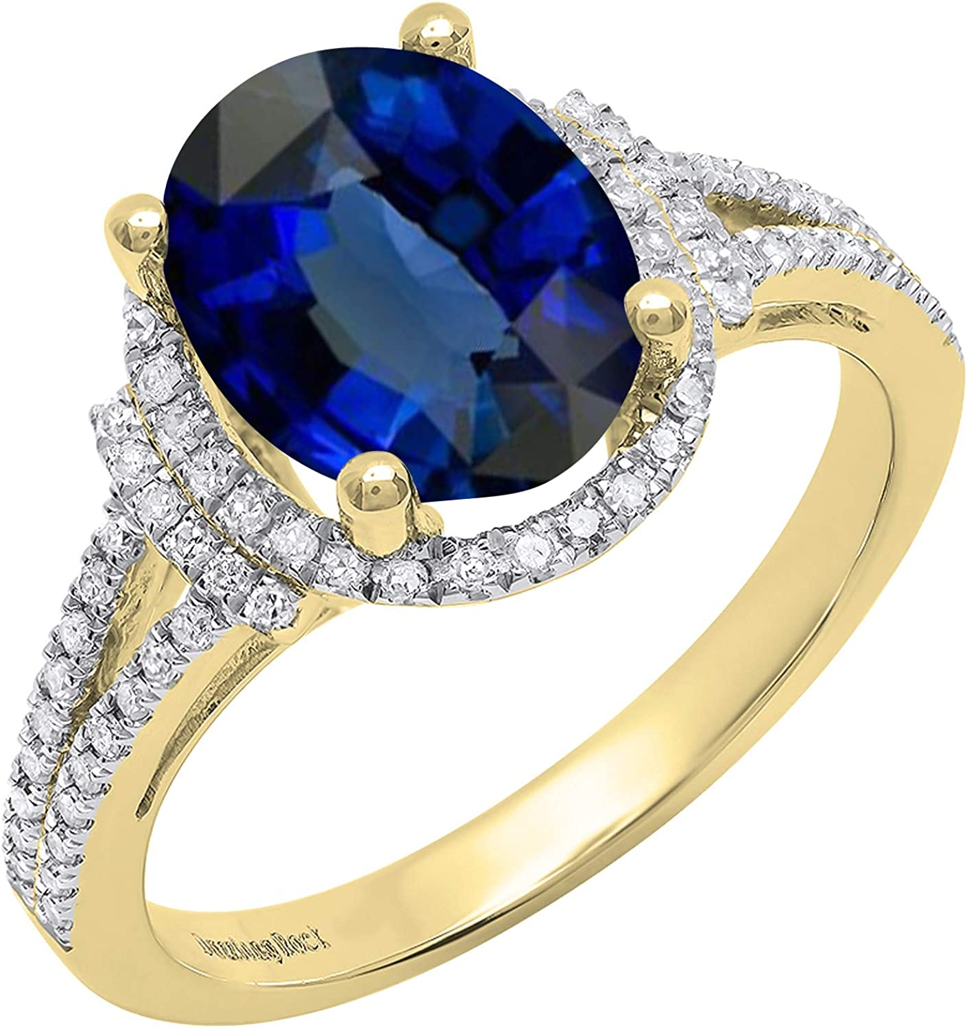 Dazzlingrock Collection 14K 10X8 MM Oval Lab Created Blue Sapphire & Round Diamond Halo Bridal Ring, Yellow Gold, Size 10