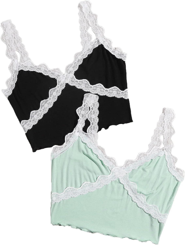 SweatyRocks Women's 2 Pack Floral Lace V Neck Crop Cami Top Sleeveless Vest