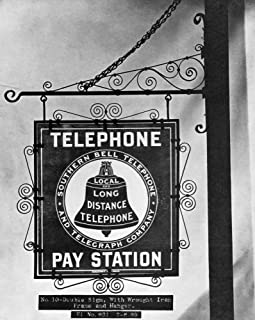 Bell Telephone Sign C1899 Nbell Pay Phone Sign With Wrought Iron Frame And Hanger Photograph C1899 Poster Print by (18 x 24)
