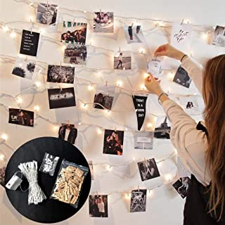 Nesee 100 LED Fairy String Lights with 50 Clear Clips for Hanging Pictures, Bedroom Fairy Lights with Clips for Bedroom Decoration to Hang Card, Polaroids & Pictures