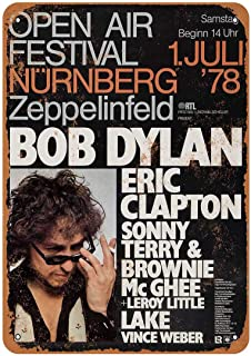 Bob Dylan and Eric Clapton In Germany Vintage Aluminum Metal Signs Tin Plaques Wall Poster For Garage Man Cave Cafee Bar Pub Club Shop Outdoor Home Decoration 12