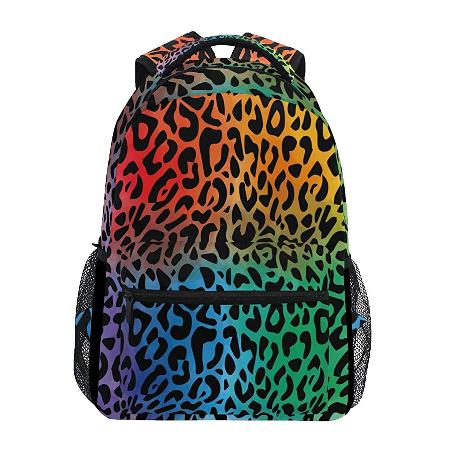 Backpack Leopard Pattern Red Yellow Purple Green Canvas School Bags Laptop Daypack