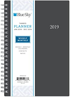 """Blue Sky 2019 Weekly & Monthly Planner, Flexible Cover, Twin-Wire Binding, 5"""" x 8"""", Enterprise"""