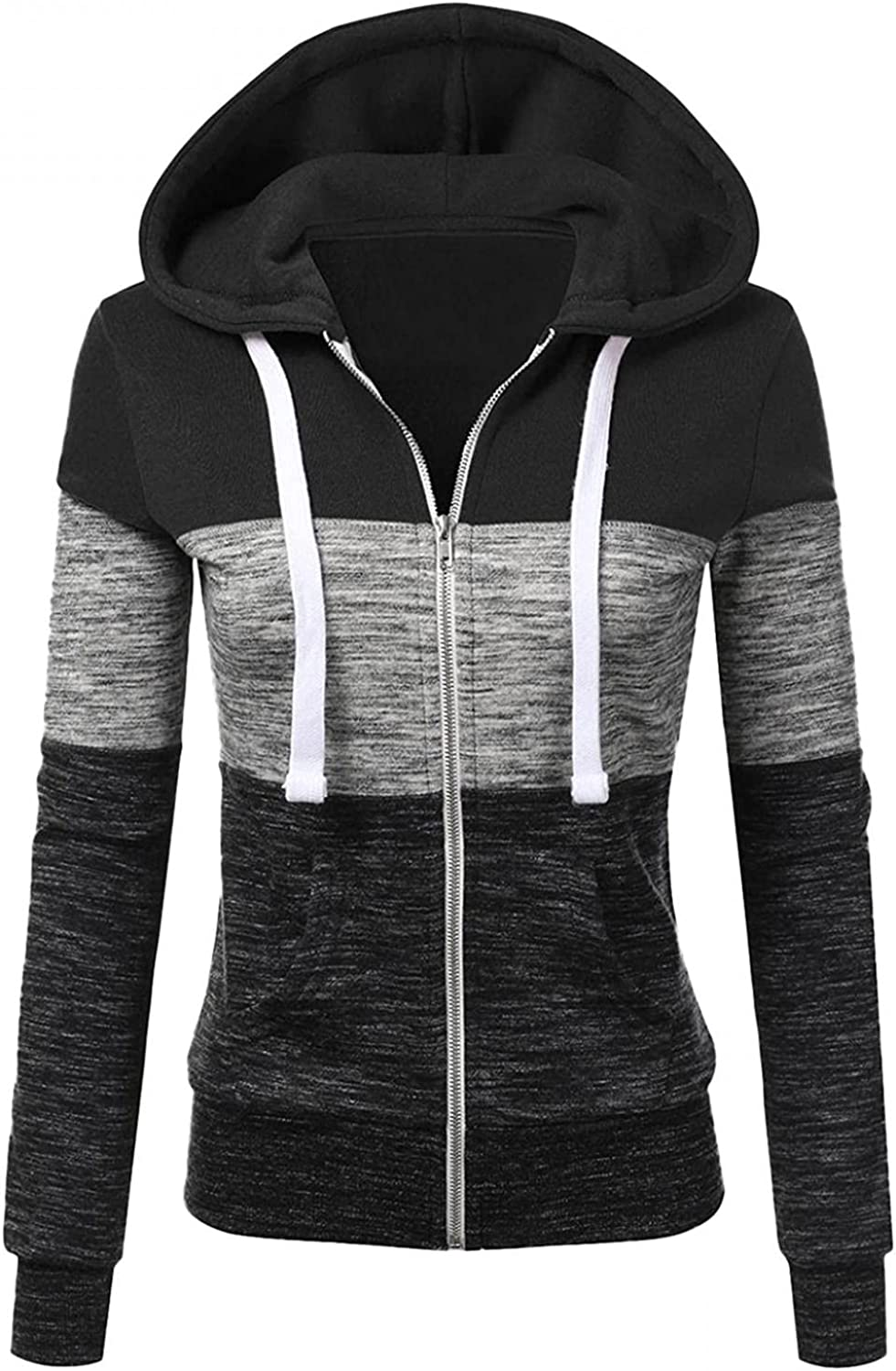 Sweatshirts for Women,Womens Color Block Hoodie Sweatshirts Stitching Color Drawstring Pullover Casual Tops